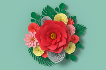 Flower paper style, colorful rose, paper craft floral, Butterfly paper fly on Green background , 3d rendering, with clipping path.