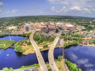 Obraz Aerial View of the Wausau Skyline in Wisconsin - fototapety do salonu