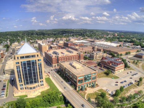 Aerial View of the Wausau Skyline in Wisconsin