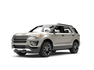 Silver metallic modern SUV car - beauty shot