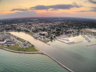 Aerial Sunset View of Sheboygan, Wisconsin on Lake Michigan