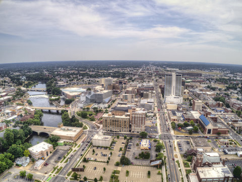 Aerial View of Downtown South Bend in Indiana