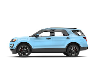 Modern pale blue SUV car - side view