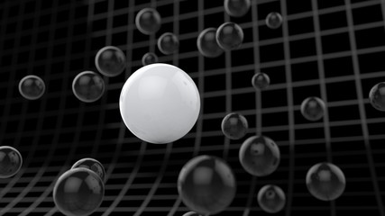 Spherical particles floating around cyber grid