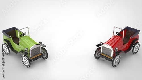 Red And Green Vintage Toy Cars Top Down View Stock Photo And