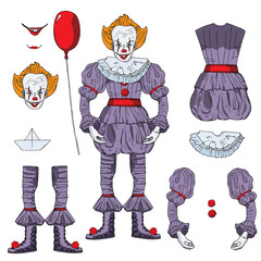 Bad clown character vector isolated, every part is separated, fits good to animating