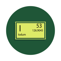 Periodic table element iodum icon in badge style. One of Chemical signs collection icon can be used for UI/UX