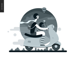 Girl on a scooter - flat black and white vector concept illustration of girl wearing helmet riding scooter, french bulldog on lap wearing small helmet, mountains - black and white background, nature