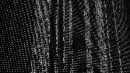 Abstract Technology Binary code Background. Computer Code. Digital flow. Big data and programming hacking. 3D rendering.