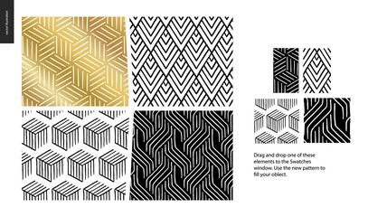 Hand drawn Patterns - a group set of four abstract patterns - black, gold and white. Geometrical lines, dots and shapes - pieces
