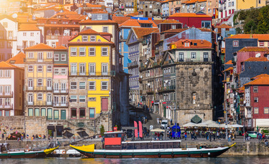 Scenic view of the Porto Old Town pier architecture over Duoro river in Porto, Portugal