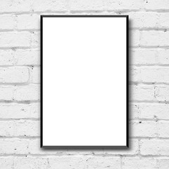 blank white poster with black frame on clean brick wall background for interior design concept
