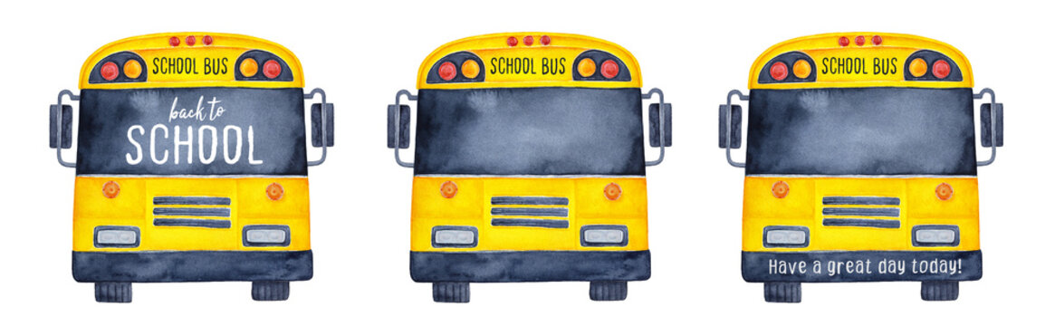 Collection of funny school buses, front view. Use black window and face bar as creative mock up to write your slogan, quote, greeting, message, regards. Hand drawn watercolour illustration on white.
