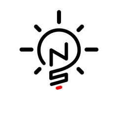 NS Initial Letter with creative bulb Logo vector element. Initial letter bulb Logo Template