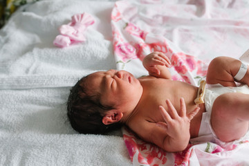 Newborn baby girl in hospital