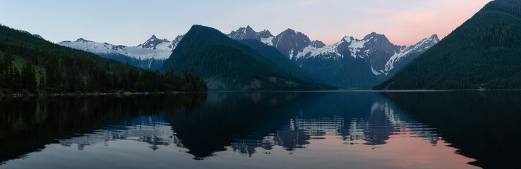 Panoramic view of Jones Lake during a vibrant summer sunrise. Located between Hope and Chilliwack, East of Vancouver, BC, Canada.