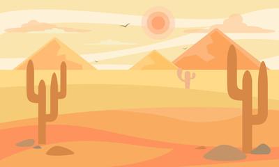 Foto auf Gartenposter Beige Cartoon desert landscape in flat design. Vector illustration.