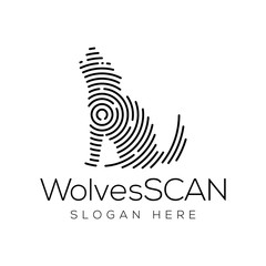 wolves Scan Technology Logo vector Element. Animal Technology Logo Template