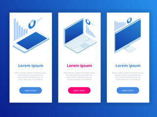 Vector abstract design Web Design Elements analytics template banner. Isometric infographics elements.
