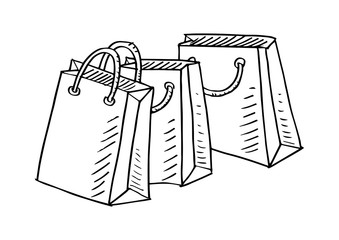Shopping bags design.Sketch element for labels, packaging and cards design.