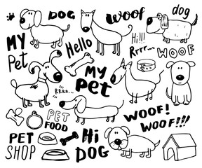 Funny Dogs doodle Set. Hand drawn sketched pets collection Vector Illustration on white background.