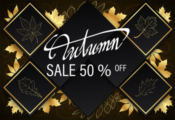 background gold Autumn text 50, Banner Sale premium black gold