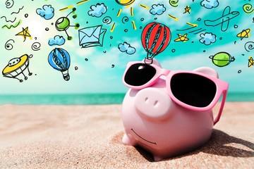 Piggy Bank Wearing Sunglasses Relaxing