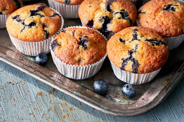 Tasty blueberry muffins on old baking tray sitting on rustic wood, text space