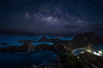 Padar island with milky way.