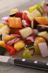 preparing diced vegetables