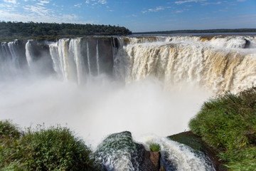 Puerto Iguazú, Misiones, Argentina. July 2018. Throat of the Devil in the Iguazu Falls seen by the Argentinean side.