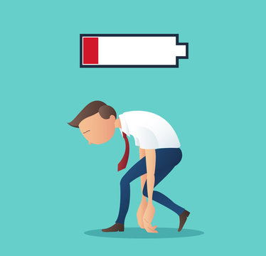 business concept of businessman tired of working with low battery vector illustration