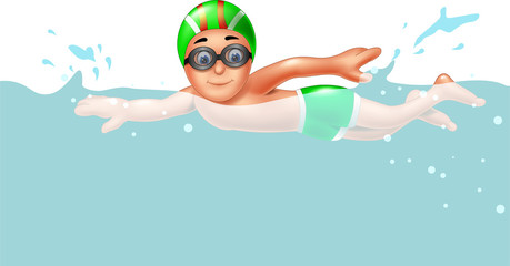 cute boy cartoon swimming with smile and waving