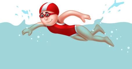 cute boy cartoon swimming with smiling
