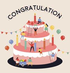 birthday celebration card. flat design style vector graphic illustration set