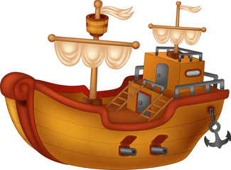 funny yacht cartoon on white background