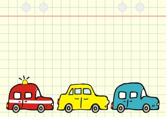 Three old cars on square paper, vector illustration