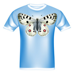 White t-shirt with design  beautiful Butterfly