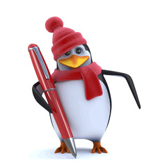 Vector 3d Winter penguin has a new pen to write with