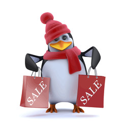 Vector 3d Christmas penguin has been to the sales