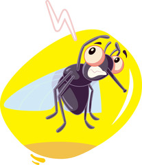 Scared Fly Insect Vector Cartoon