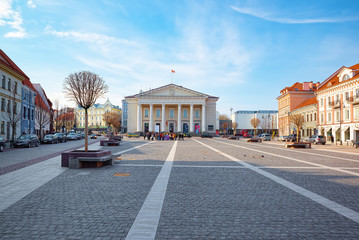 Town Hall in the historic part of the old city of Vilnus. Lithuania.