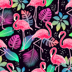 flamingos and palm leaves