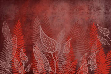 Japanese Style Fabric design of leaves died on red carmine jade fabric look