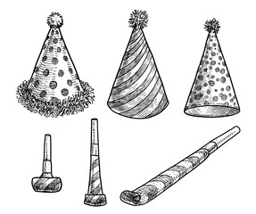 Party hat and blower whistle illustration, drawing, engraving, ink, line art, vector