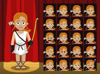 Greek Gods Artemis Costume Cartoon Emotion faces Vector Illustration