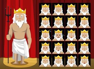 Greek Gods Poseidon Costume Cartoon Emotion faces Vector Illustration