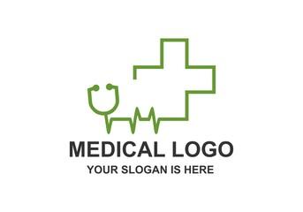Medical, Stethoscope, Pulse Logo Vector