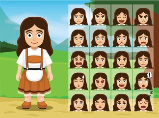 Germany Dirndl Girl Cartoon Emotion faces Vector Illustration