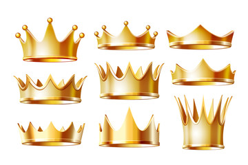 Set of golden crowns for king